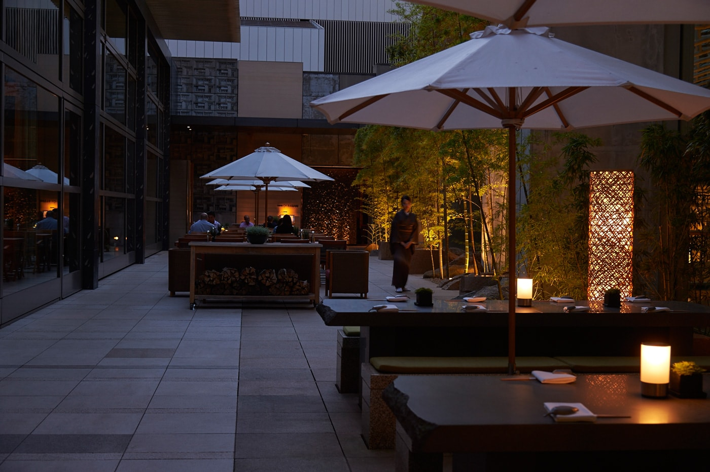 outdoor terrace at roku roku restaurants at a luxurious roppongi