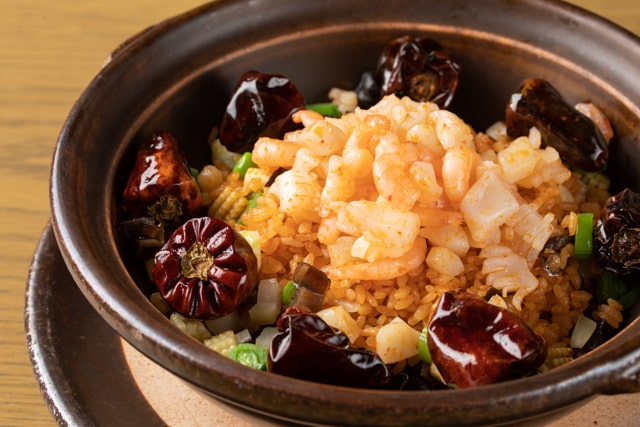 Summer Fried rice with Sichuan soy sauce seafood